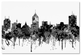 Quot Fresno California Skyline Bw Quot By Marlene Watson Canvas