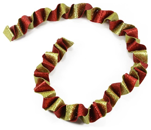 5&x27; Red And Gold Twist Glitter Drenched Swirled Christmas Garland.
