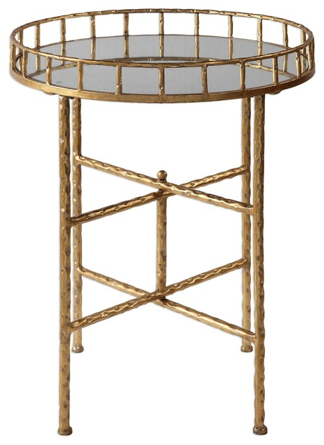 elegant textured gold tall round accent table, tray top bar