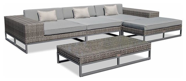 Outdoor Patio Wicker Furniture Sofa Sectional 5 Piece Resin Couch Set.