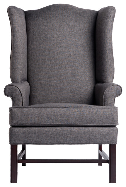 Jitterbug Chippendale Wingback Chair, Gray, 27x30.25x44.75