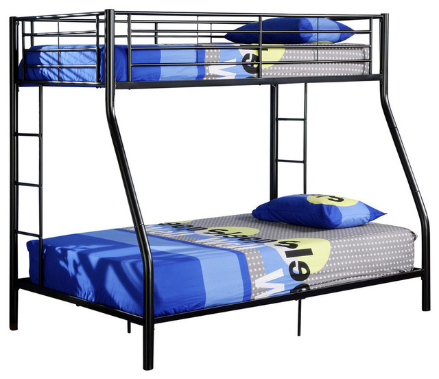 Twin Over Full Metal Bunk Bed, Black.
