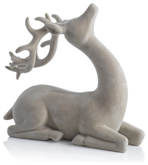 Flocked Sitting Deer Figurine Statue, Gray