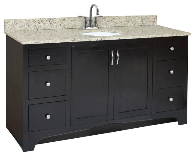 Ventura Unassembled 2 Door 4 Drawer Vanity Without Top 60 Espresso Transitional Bathroom Vanities And Sink Consoles By Design House Houzz
