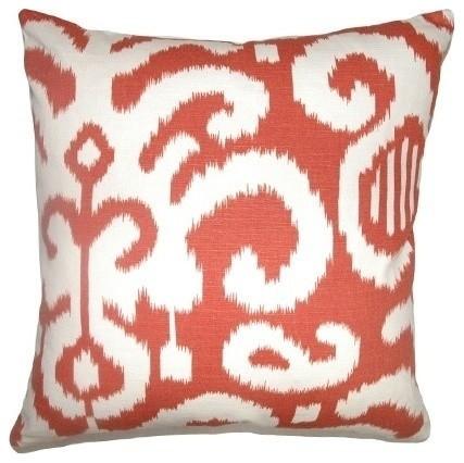 """Teora Ikat Pillow Flame 20""""x20""""."""