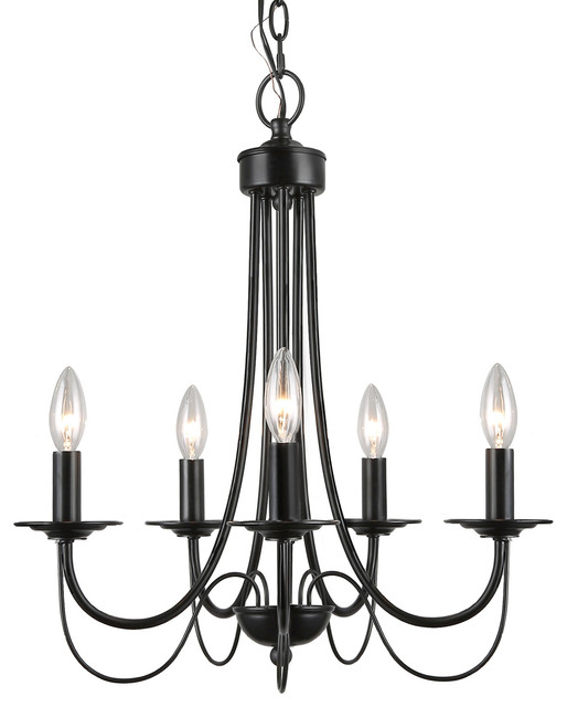 size 40 14b25 a5ffb 5-Light Retro Style Chandelier Black Iron Industrial Pendant Light