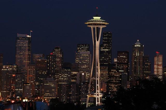 Seattle Skyline At Night Wallpaper Wall Mural Self Adhesive