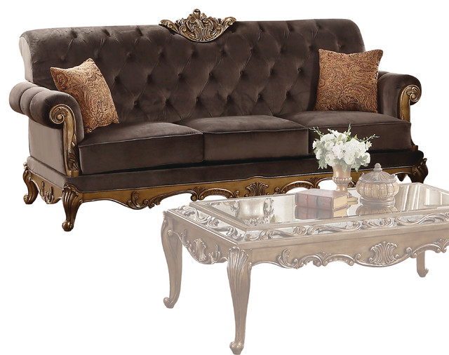 Acme Orianne Sofa With 2 Pillows Charcoal Fabric And Antique Gold Victorian Sofas By Furniture