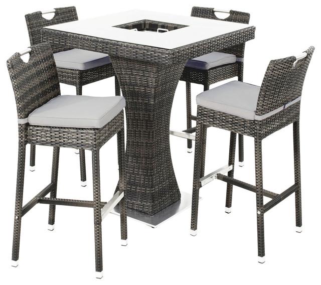 Outdoor Square 5-Piece Bar Set, Grey