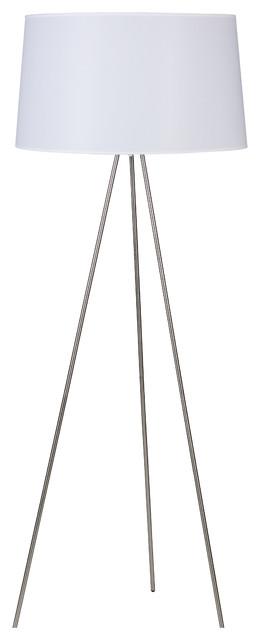 Weegee floor lamp in brushed nickel finish modern floor lamps weegee floor lamp in brushed nickel finish with dijon tweed shade aloadofball Images