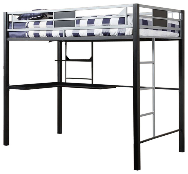 Full Loft Bed With Workstation And Side Ladders, Silver, Black.
