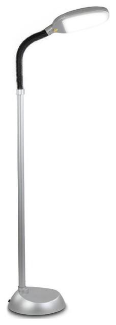 Litespan Led Reading And Crafting Floor Lamp, Titanium Silver.