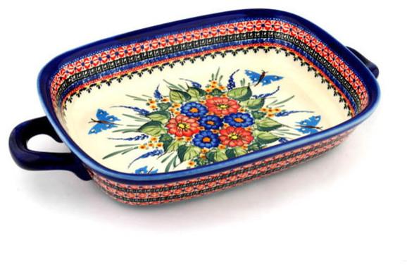 "Polmedia Polish Pottery 18"" Stoneware Rectangular Baker With Handles."