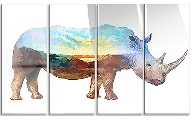 Quot Rhino Double Exposure Quot Illustration Rustic Metal Wall