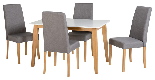Seconique Rimini Dining Set, Oak and White and 4 Grey Fabric Chairs