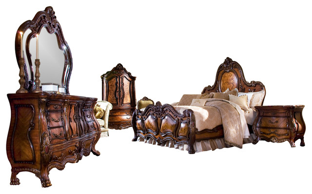 5 Piece Chateau Beauvais Queen Size Bedroom Set Victorian Bedroom Furniture Sets