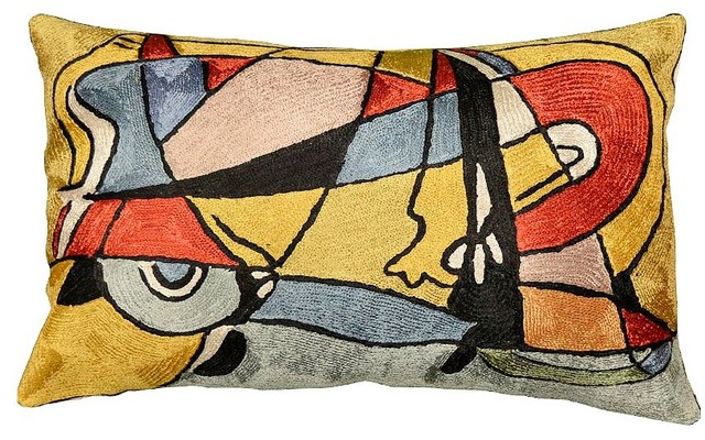 "Modern Abstract Oblong Pillow Cover Hand Emrbroidered 13"" X 21""."