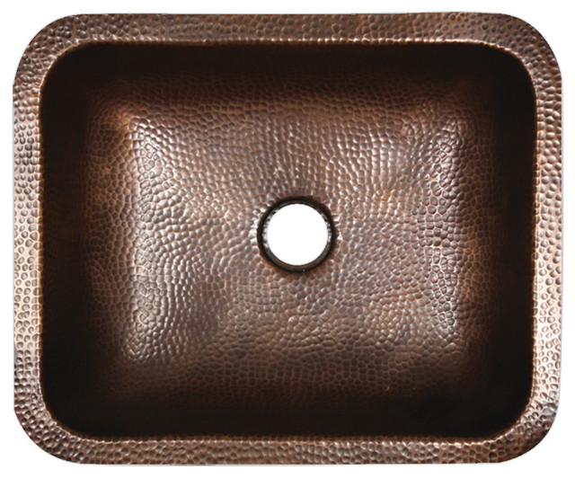 Nantucket Sinks 17 X 14 Hammered Copper Rectangle Undermount Bathroom Sink.