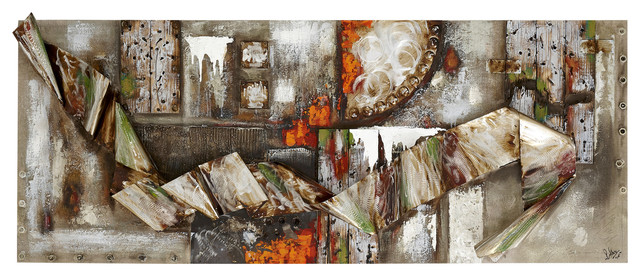 Abstract 3d Industrial Scenic Wood Metal And Canvas Wall Art Mixed Media Art By Majestic