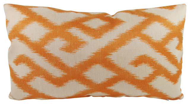 Jeff L Designs - Orange and Beige Lumbar Throw Pillow with Feather/Down Insert - View in Your ...