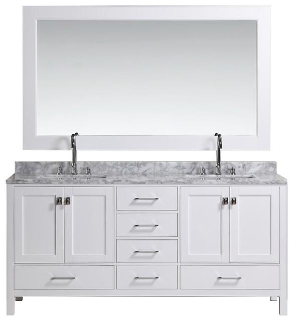 London Double Sink Vanity Set, White, 72.