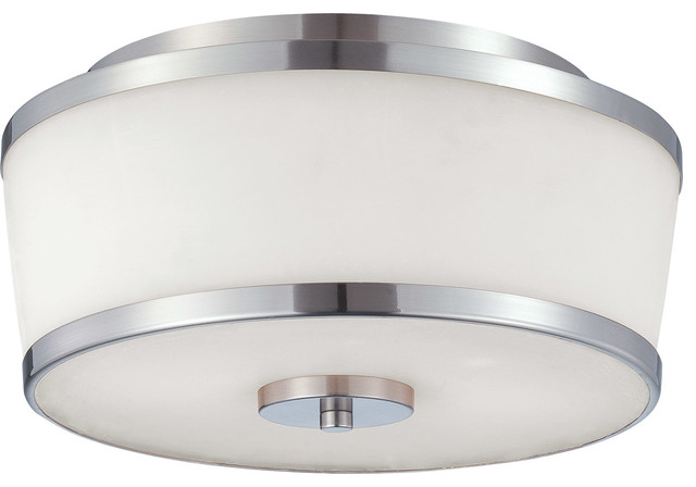 Hagen 2-Light Flush Mounts, Satin Nickel.
