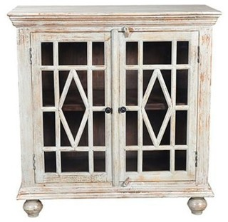 Wicent 2-Glass Door Cabinet, White Antique Finish
