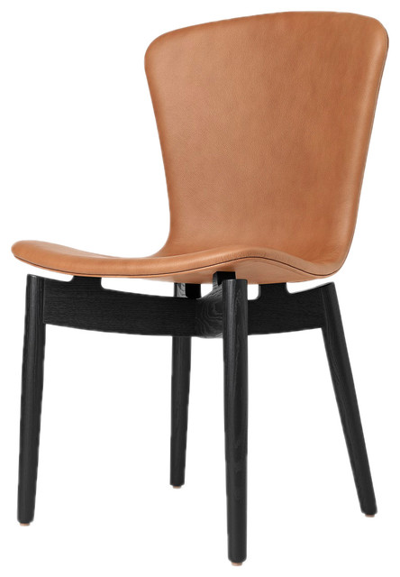 Fabulous Mater Shell Danish Modern Leather Dining Chair Tan Black Squirreltailoven Fun Painted Chair Ideas Images Squirreltailovenorg