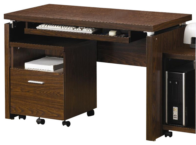 coaster peel computer desk with keyboard tray in medium brown finish - Keyboard Drawer