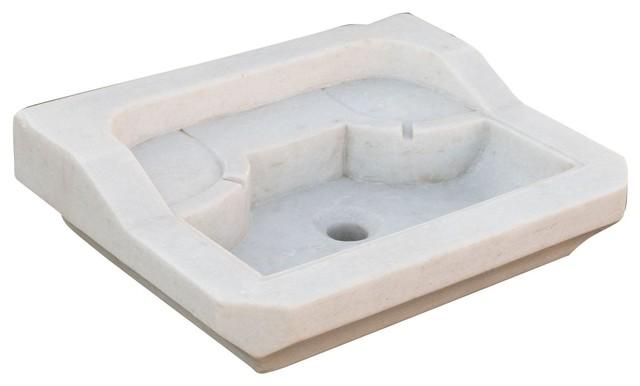 White Marble 2-Tier Bathroom Sink