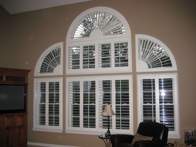 Arched Window Coverings Traditional Living Room