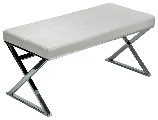 Enjoyable Zio Metal Entryway X Bench Leather Like Vinyl White Caraccident5 Cool Chair Designs And Ideas Caraccident5Info