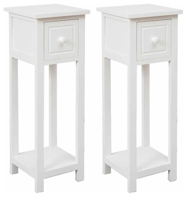 Traditional Set of 2 Bedside Tables With Storage Drawer, White