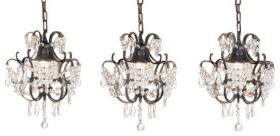 Wrought Iron And Crystal Chandelier Pendants Set Of 3