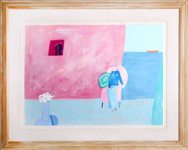 """Joy Laville """"Seated Woman on Pink Chair"""" Lithograph"""