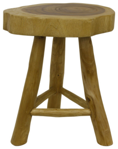 Live Edge Wooden Stool Rustic Accent And Garden Stools