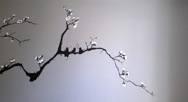 d cor mural arbre japonais en fleur. Black Bedroom Furniture Sets. Home Design Ideas