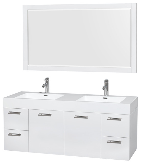 """Amare 60"""" Glossy White Double Vanity, 58"""" Mirror, Acrylic Resin, Integrated."""