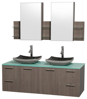 Amare Gray Oak Double Vanity Medicine Cabinets Modern Bathroom Vanities