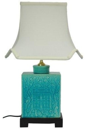20 Turquoise Porcelain Lamp.