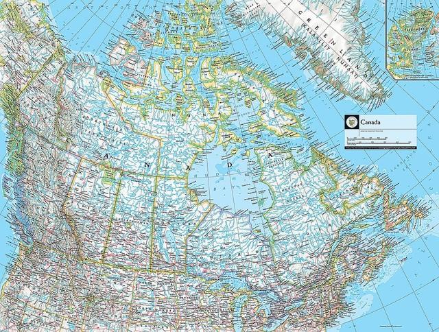 Map of Canada Wallpaper Wall Mural, Self-Adhesive - Contemporary ...