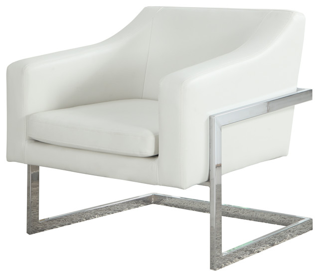 Modern Living Room Chrome Faux Leather Accent Chair