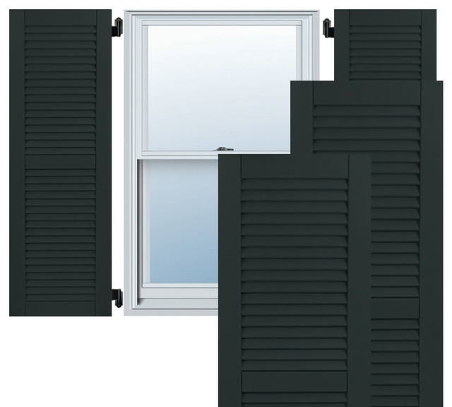 15 X 49 Exterior Composite Wood Louvered Shutters Black Traditional Exterior Shutters