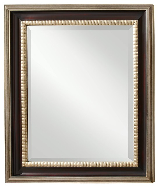 Murray Feiss Mirrors: Murray Feiss MR1113MHG/ASL Boyd Mahogany /Antique Silver