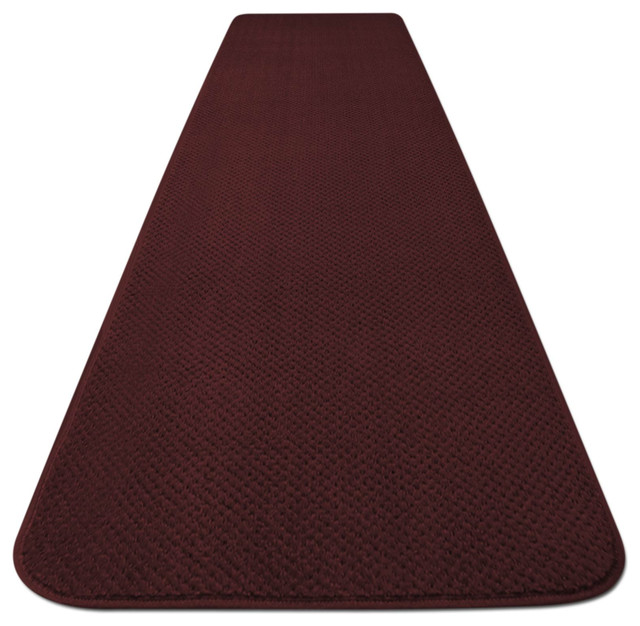Skid Resistant Carpet Runner Burgundy Red Contemporary