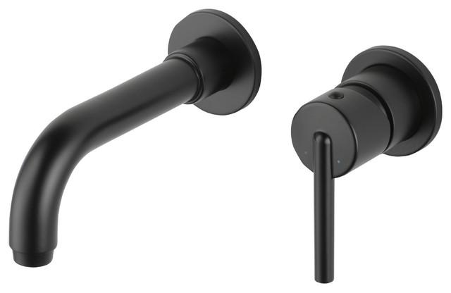 Delta Trinsic Matte Black 1 Handle Wall Mount Bathroom Faucet With Valve D2099v Contemporary