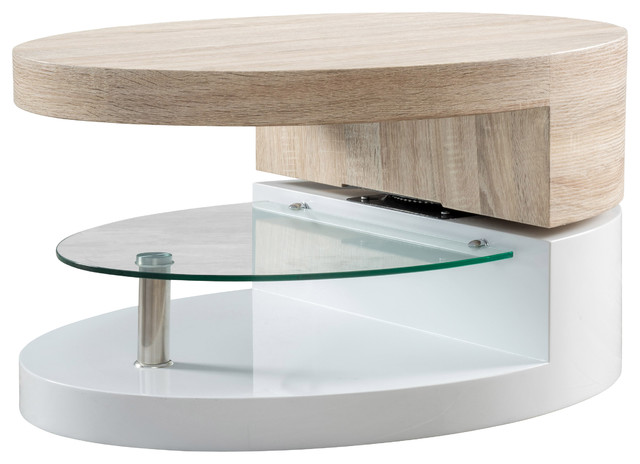 Oval Mod Swivel Coffee Table With Glass Modern Coffee Tables