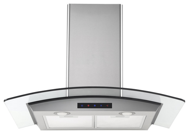 36 Stainless Steel Wall Hood With Arched Glass.