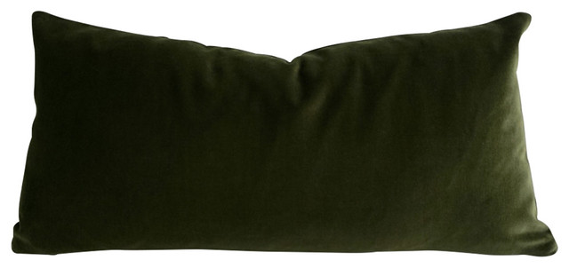 Decorative Velvet Pillow Cover, Olive Green - Contemporary - Decorative Pillows - by Nora Quinonez