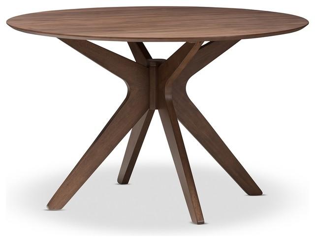 Mid Century Modern Walnut Wood 47 Inch Round Dining Table
